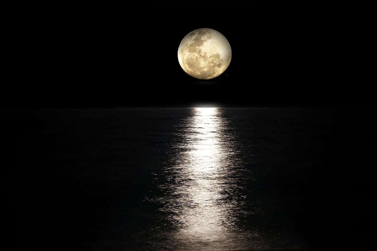 gazing at the moon over the ocean