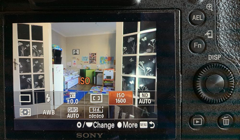 ISO menu settings on a Sony RX10
