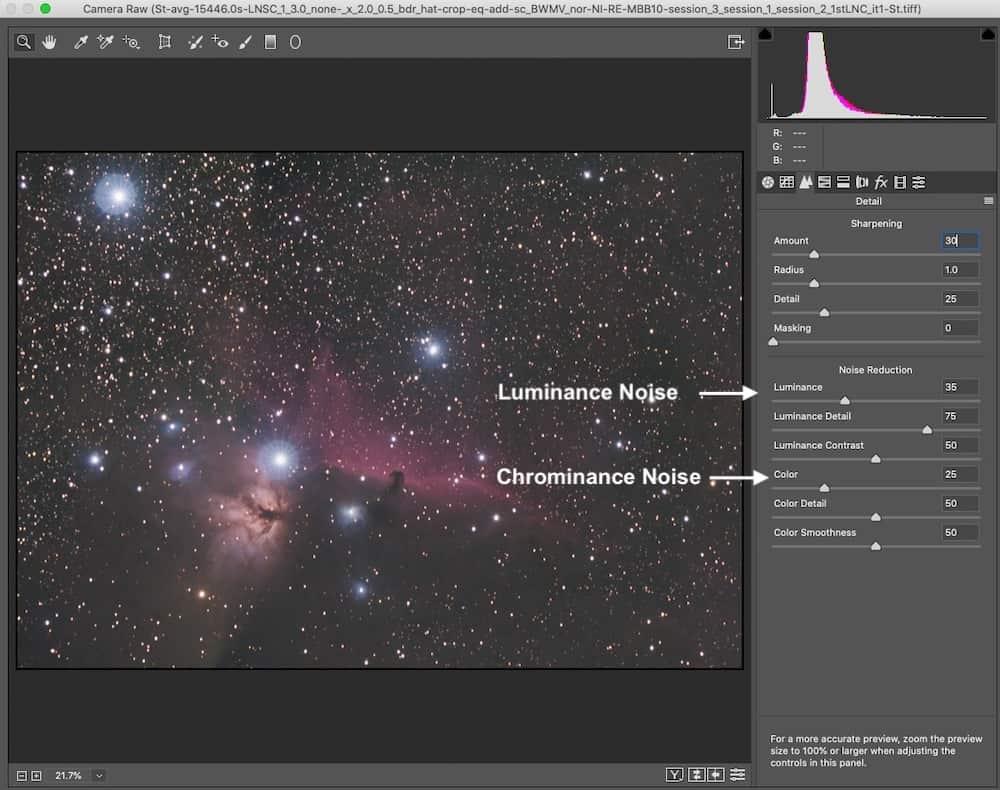 Luminance and Chrominance noise reduction setting