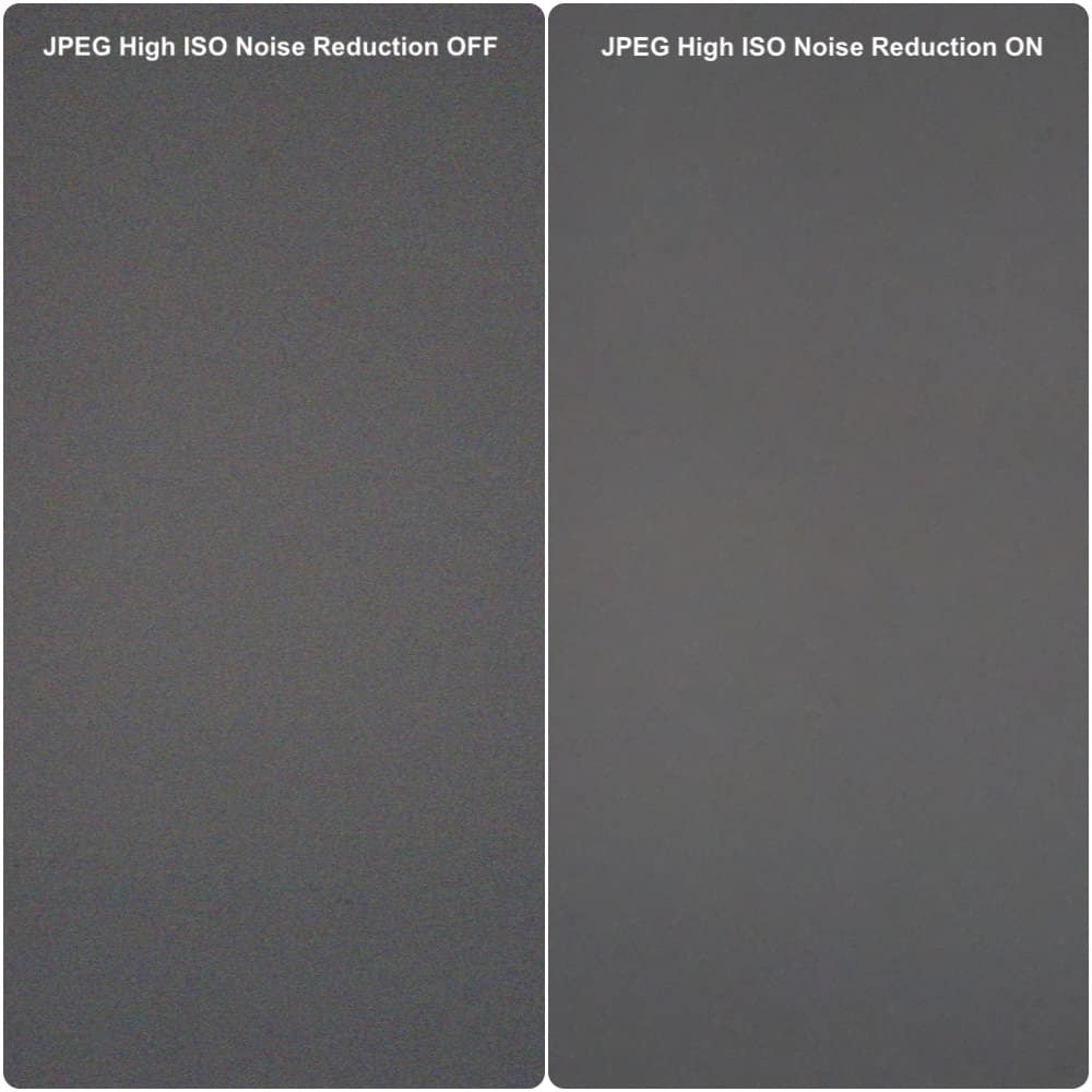 effect of in-camera high ISO noise reduction filter