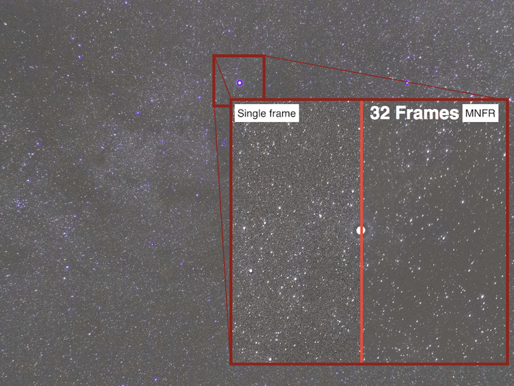 effect of stacking 32 astrophotography images