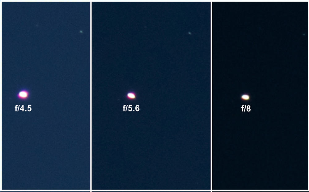 camera aperature showing the purple fringe visible around the bright Saturn planet