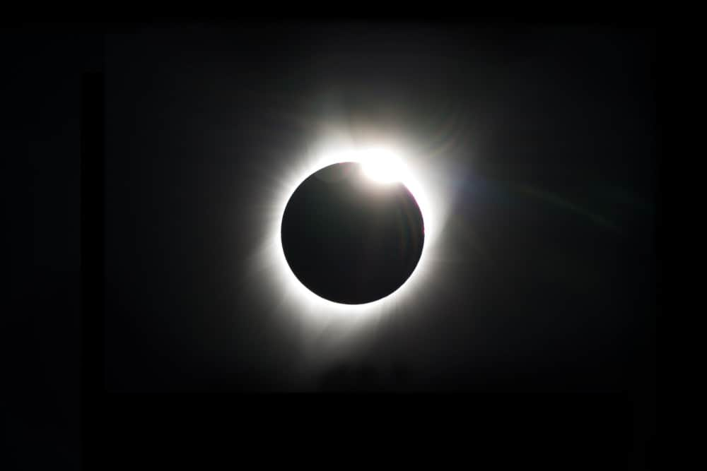 Eclipse do anel de diamante