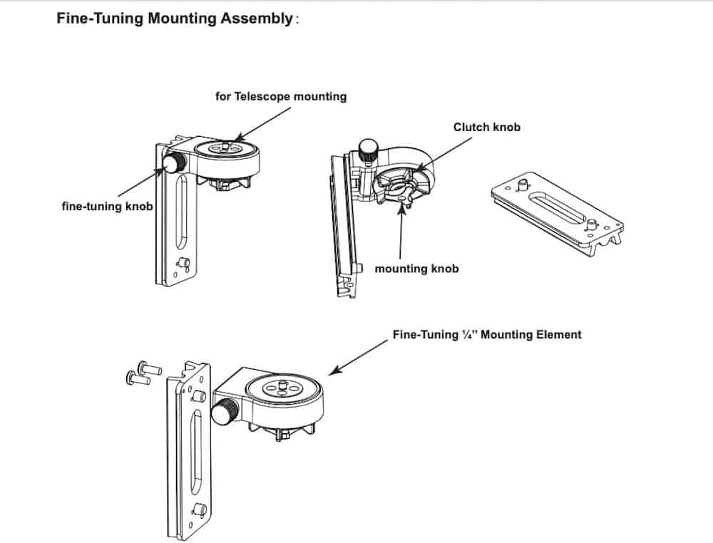 Fine-Tuning Mounting Assembly from the instruction manual