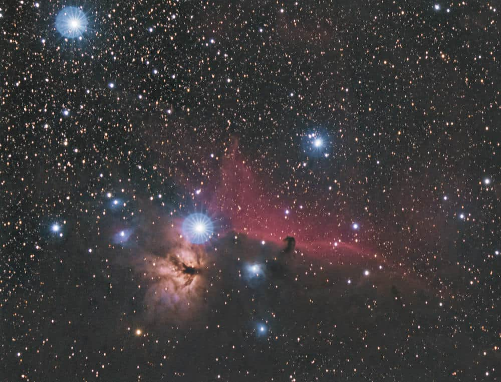 Flame Nebula and the Horsehead Nebula in Orion Constellation