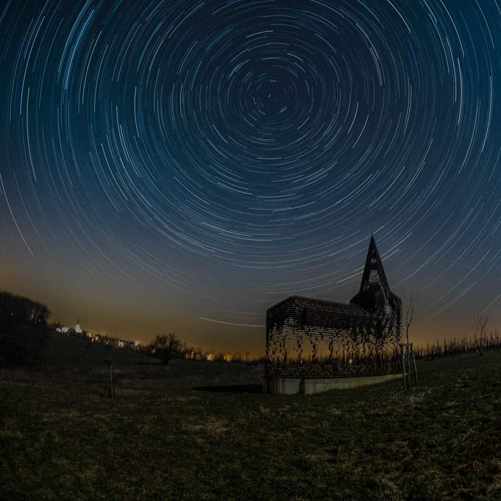 classic star trails rotating around the north celestial pole