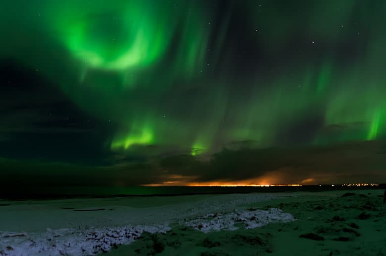 landscape image of the auroras
