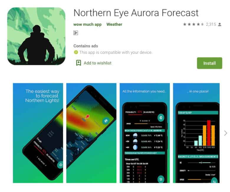 northern eye aurora forecast app