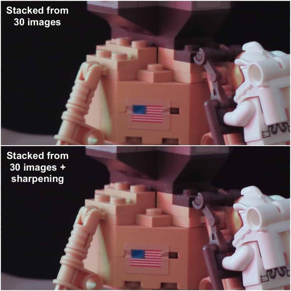 comparison between a stacked and a sharpened image