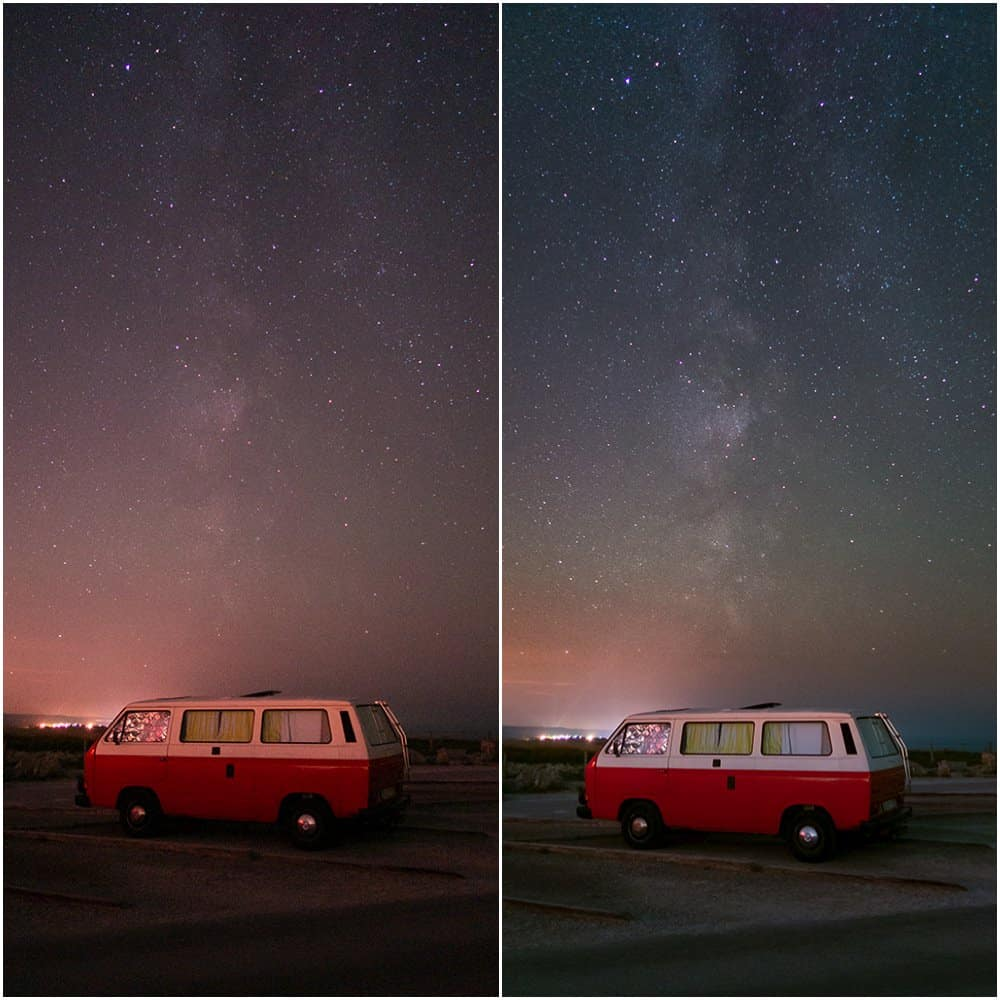 comparison of single and stacked image in photoshop