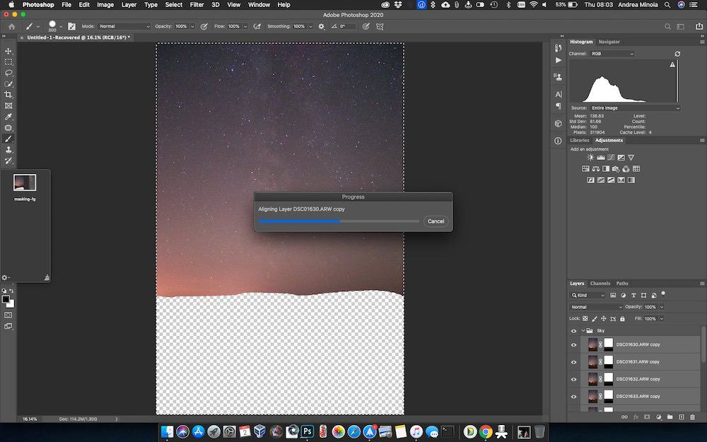 photoshop Auto-align process in action