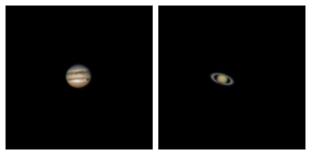 Jupiter and Saturn photographed with ZWO ASI224mc