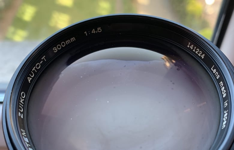 condensation buildup on a lens
