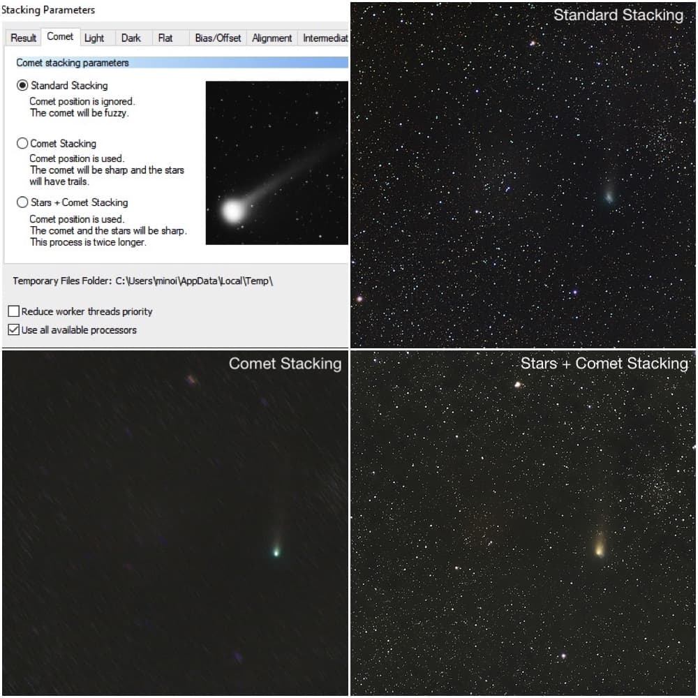 different comet stacking modes in deepskystacker
