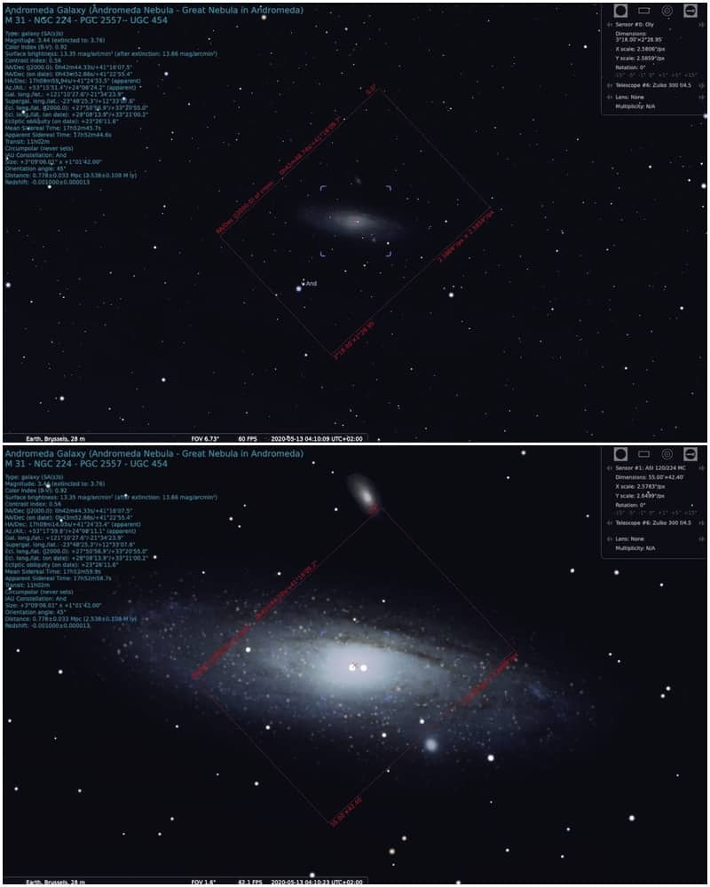field of view of M31 with a 300mm lens