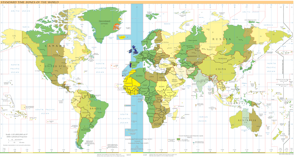 time zones throughout the world