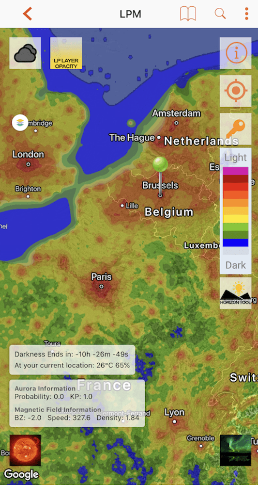 Light Pollution Map for iOS