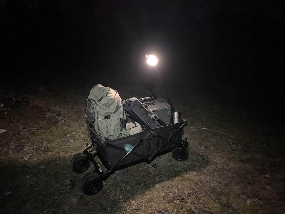 foldable camping trolley for hikes and rough terrains