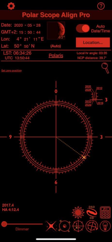 reticle of the Star Adventurer in Polar Scope Align Pro app