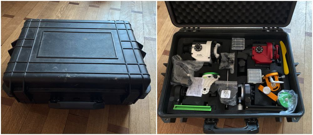 rigid carrying cases full of accessories