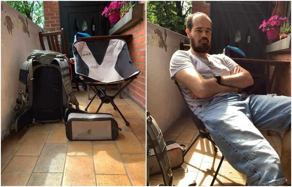sitting on a Leki Breeze chair