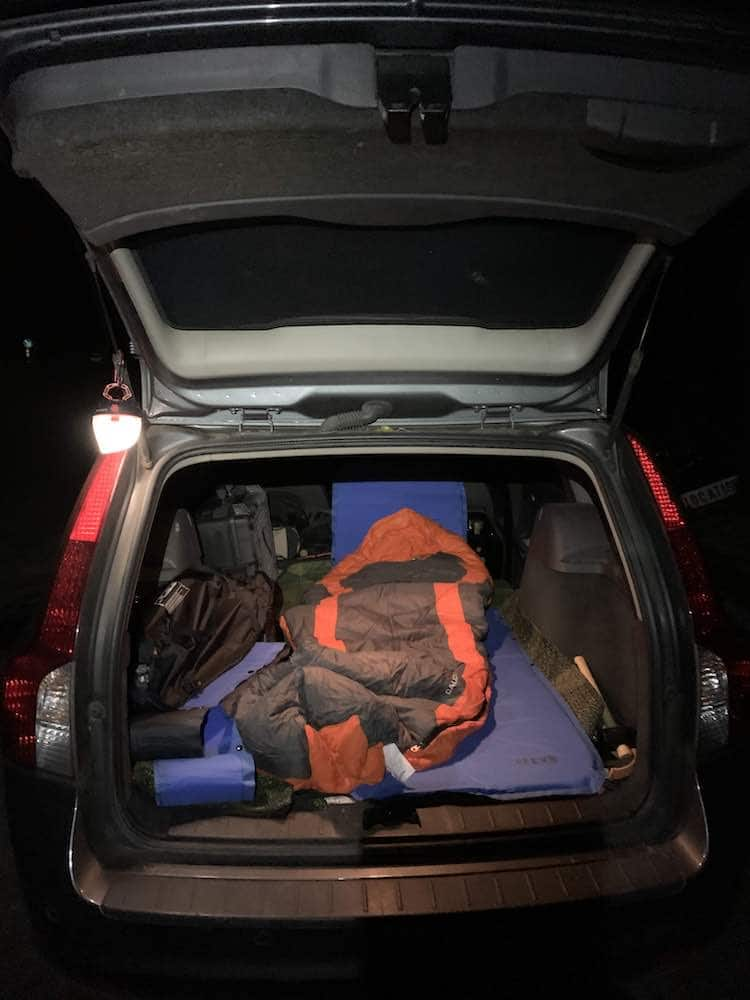 sleeping in car while photographing the night sky