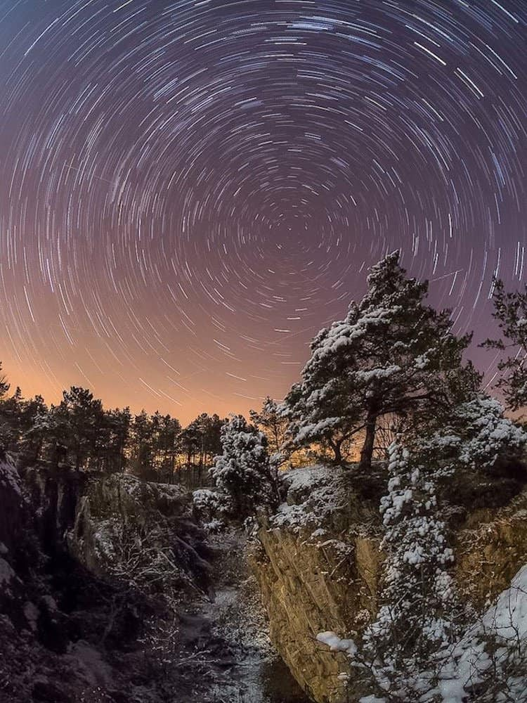 star trails in a circular motion around the celestial pole