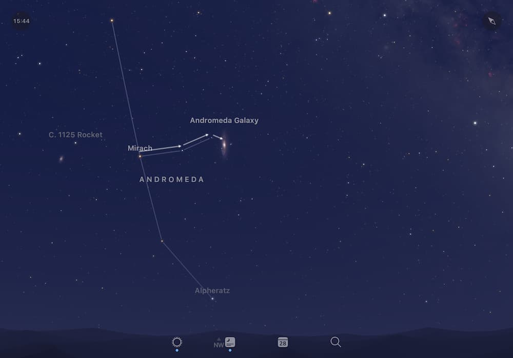 Star Hopping from Mirach to find the Andromeda Galaxy