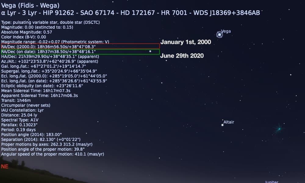 star hop coordinates for Vega