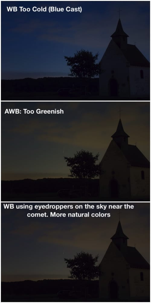 effect of different WB on an image shot of Neowise comet