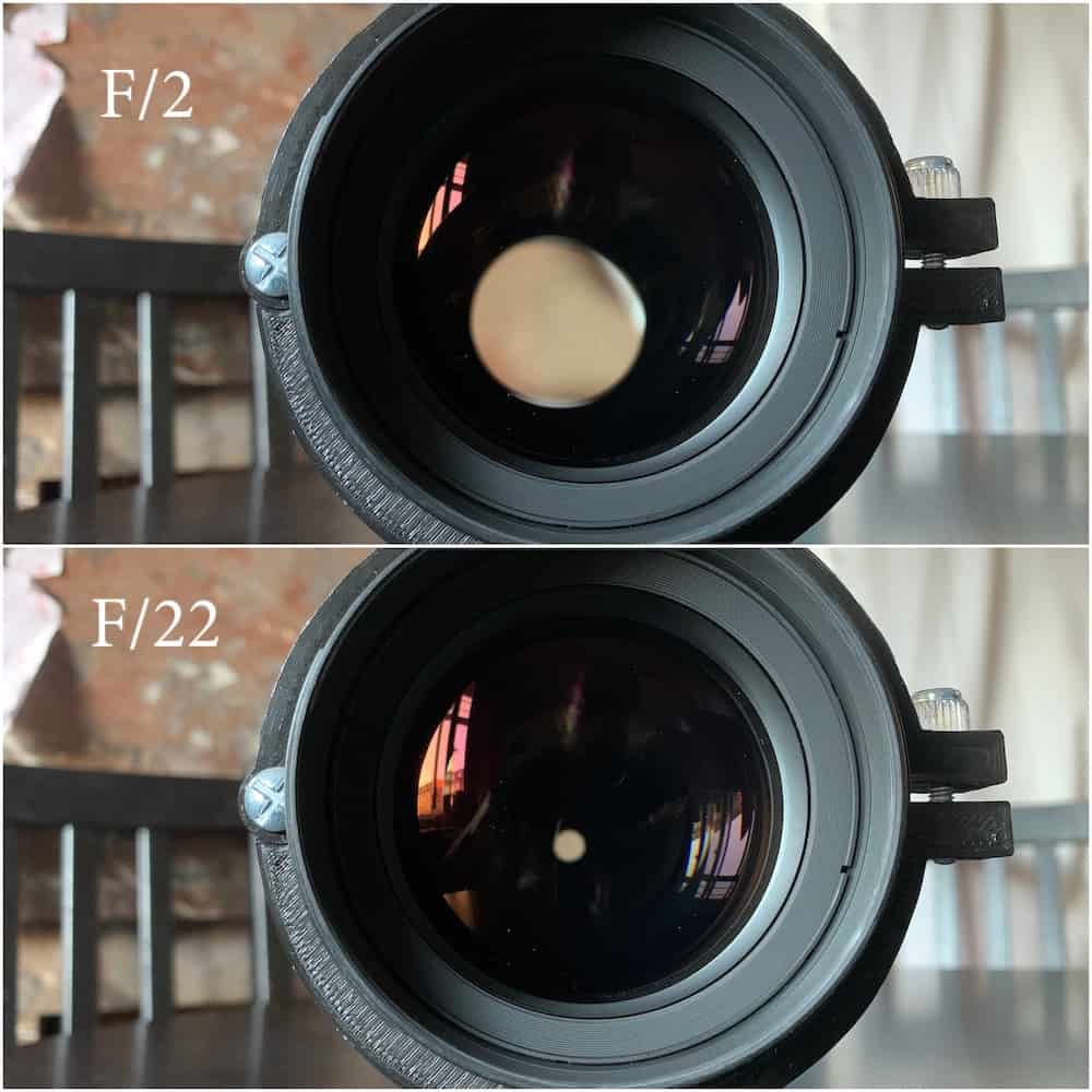 Samyang diaphragm comparison stepping down the lens from f:2 to f:22
