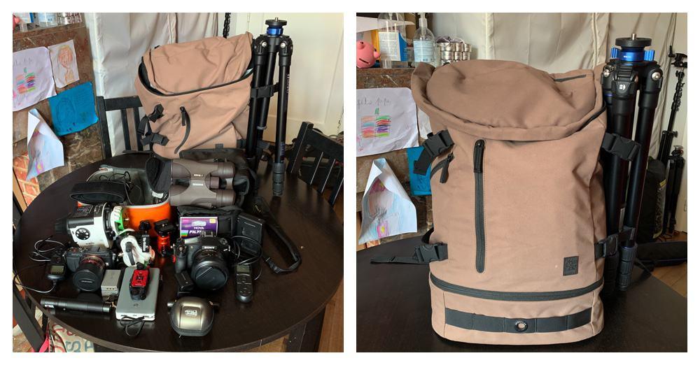camera bag full of equipment