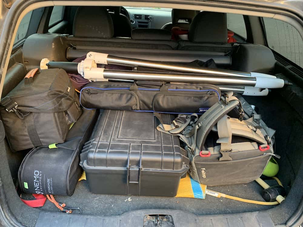 car boot full of astrophotography gear