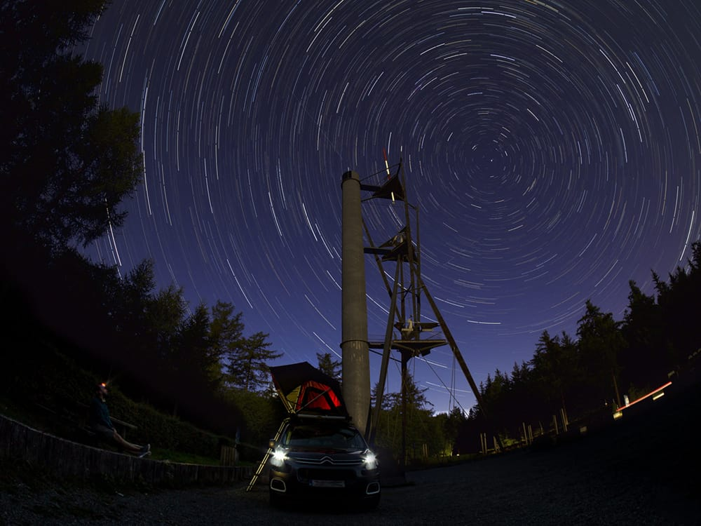 fisheye lens used to capture this star trail