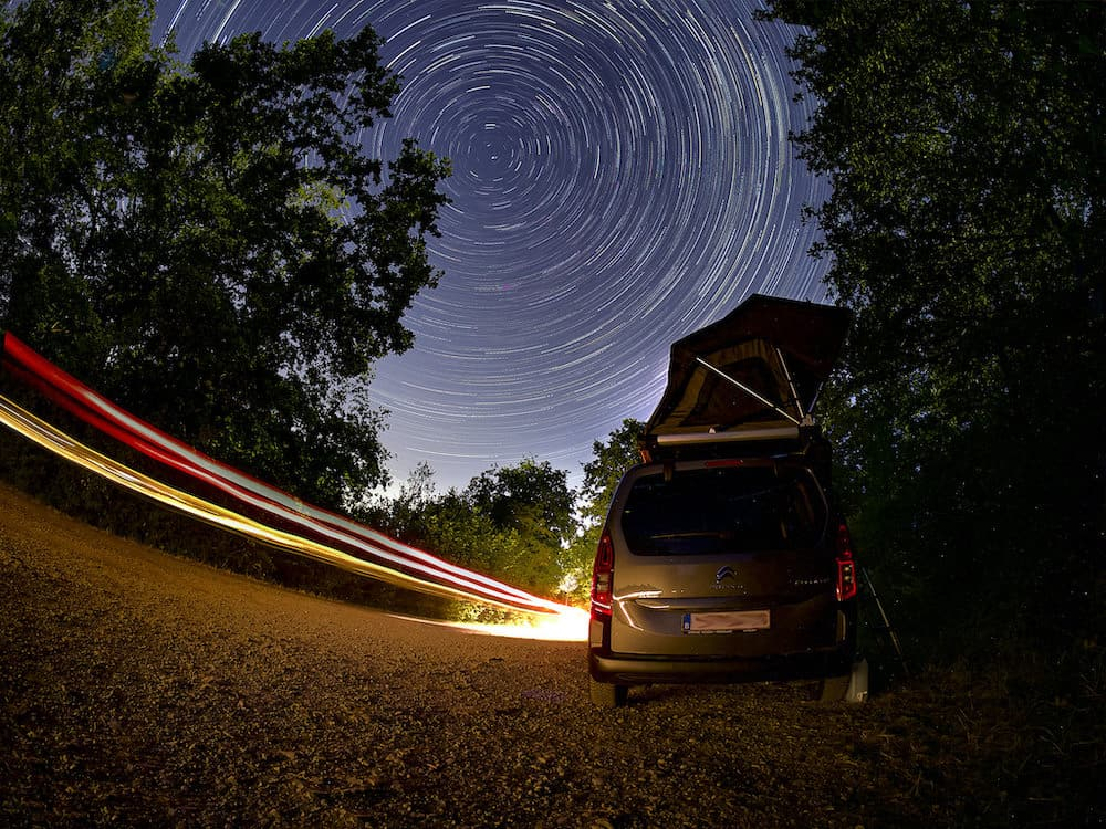 parking on location and capturing star trails