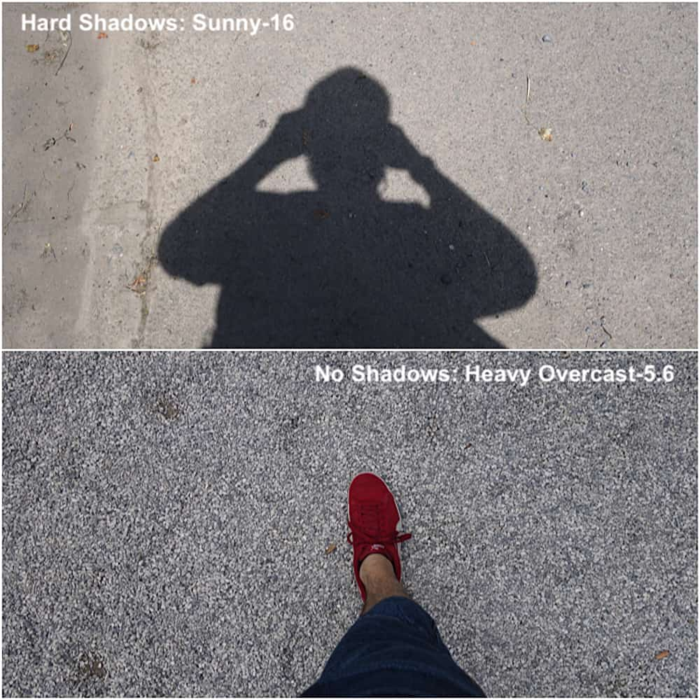 Comparing the shadows in sunny and overcast lighting