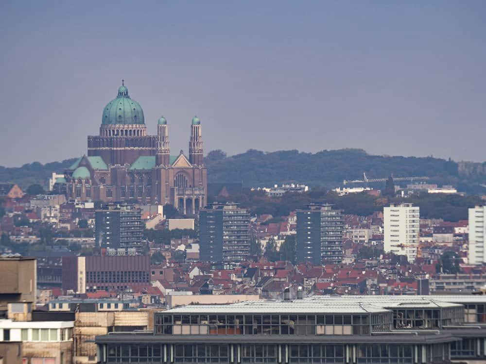 Koekelberg Basilica in Brussels in the morning haze