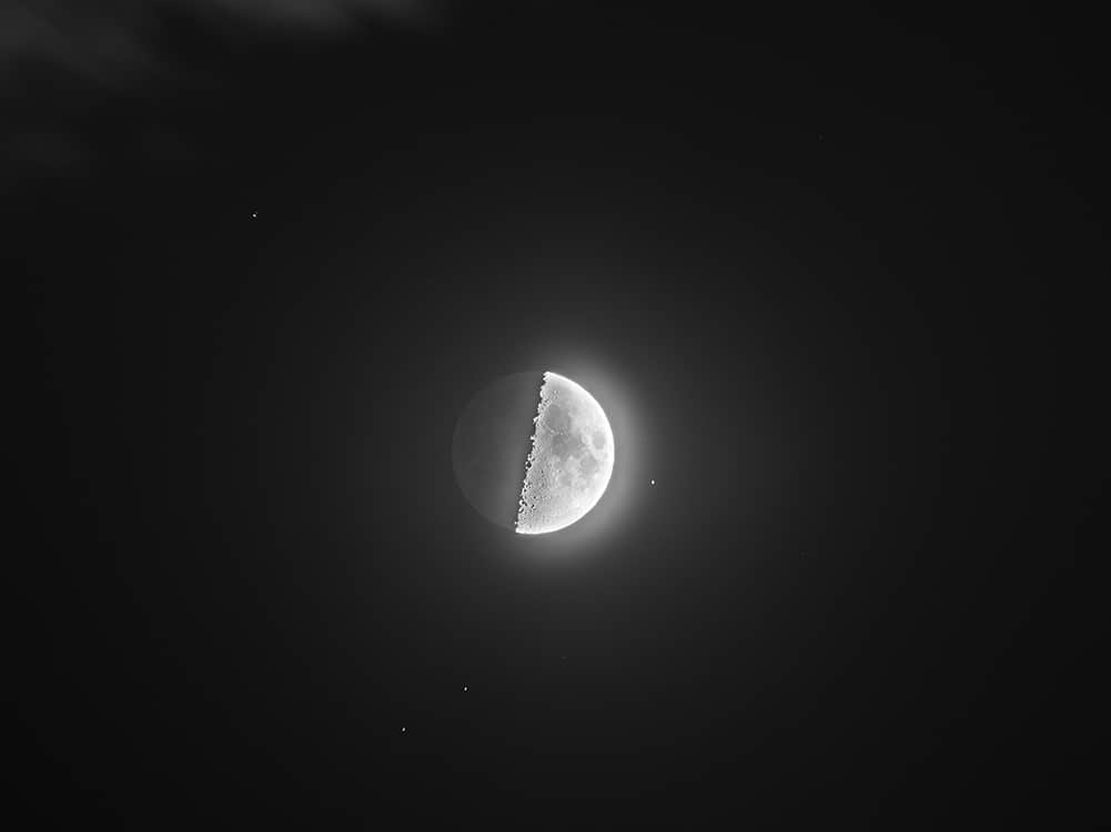 Moon composite to show the Earthshine