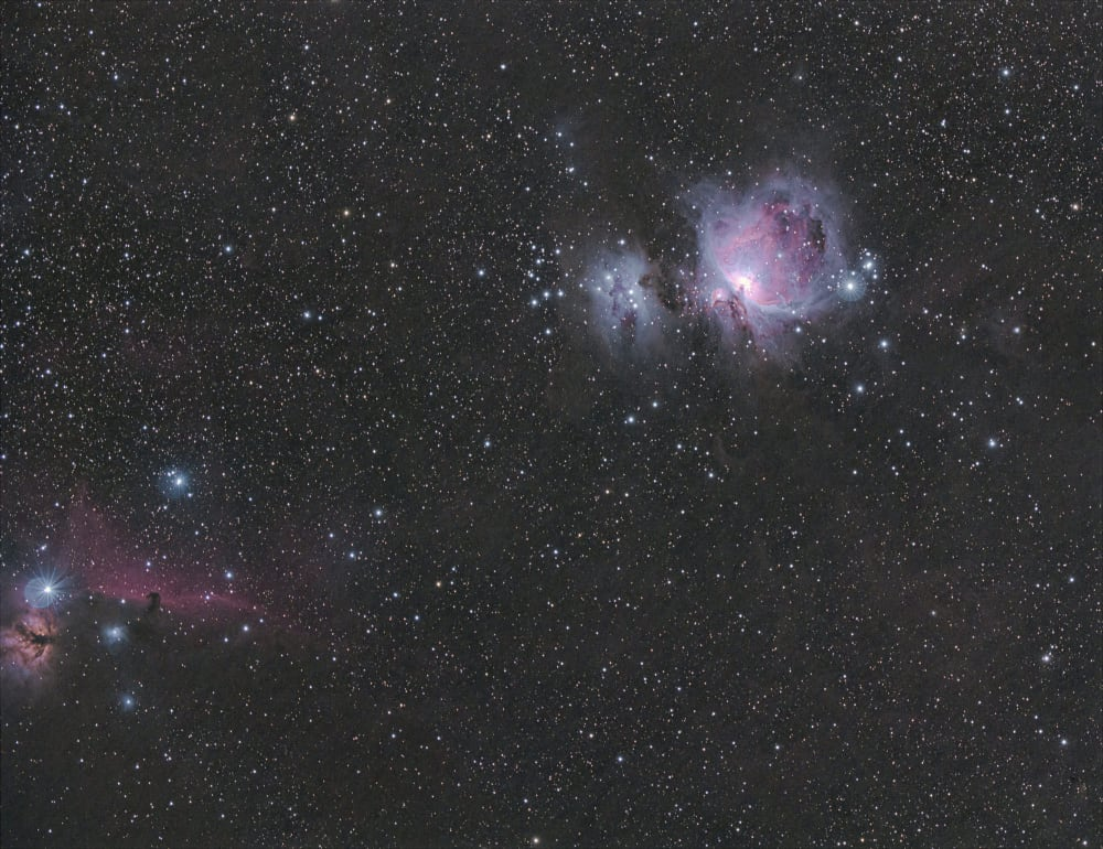 poorly framed starfield with flame nebula on edge of frame