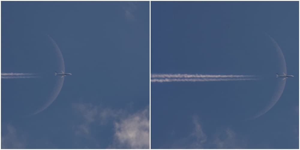 two versions of composition of a plane flying in front of moon