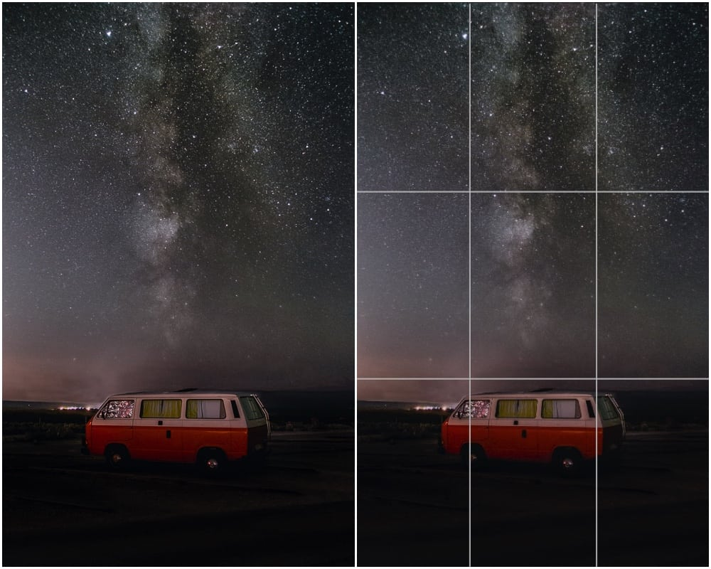 vertical composition the Milky Way and a van