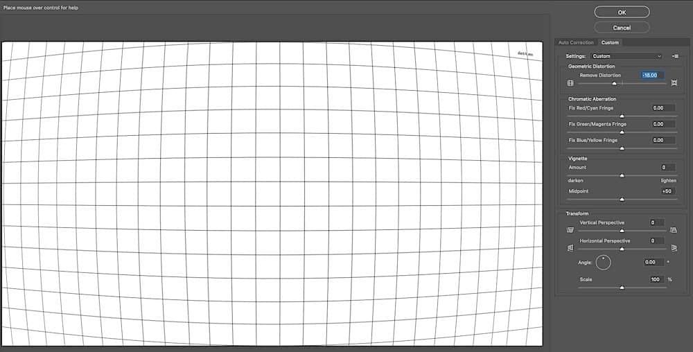 Simulation of barrel distortion