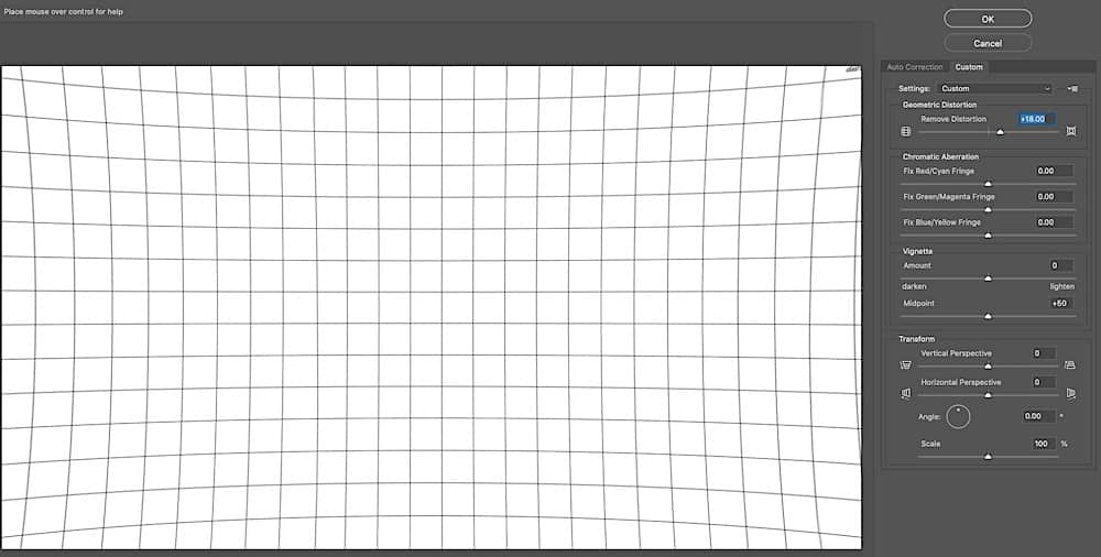 Simulation of pincushion distortion