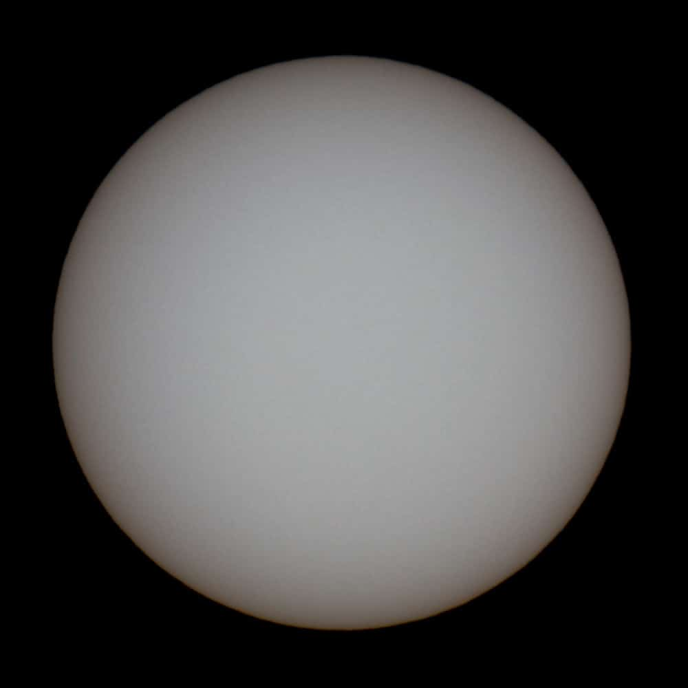 Sun photographed with a white light filter