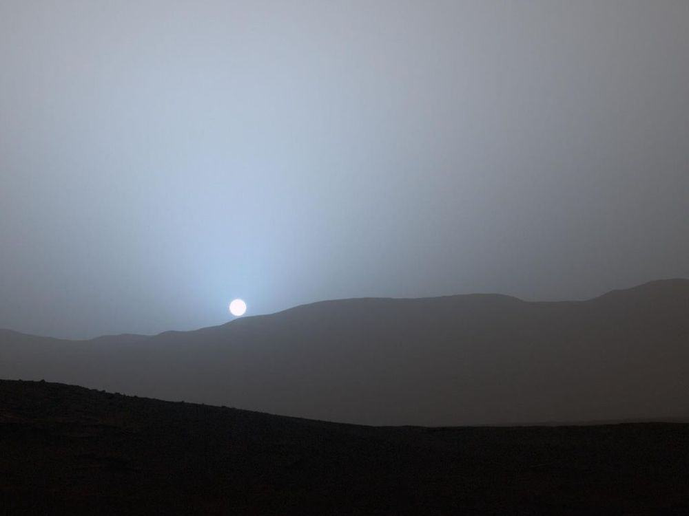 blue sunset at Mars Gale Crater