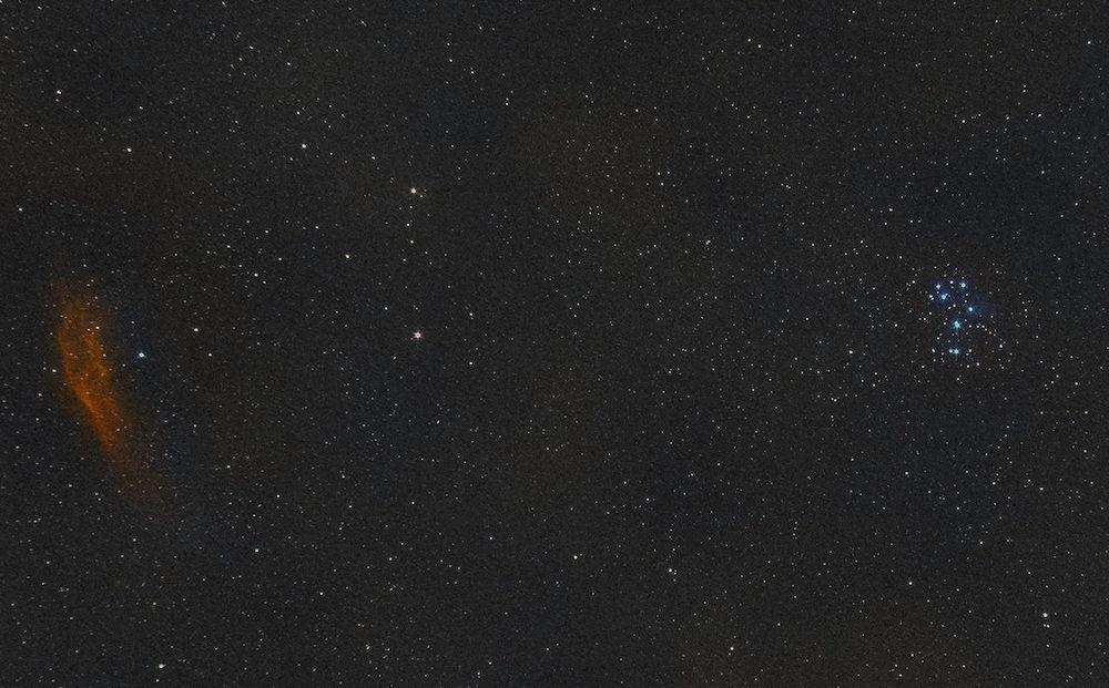 California Nebula and Pleiades