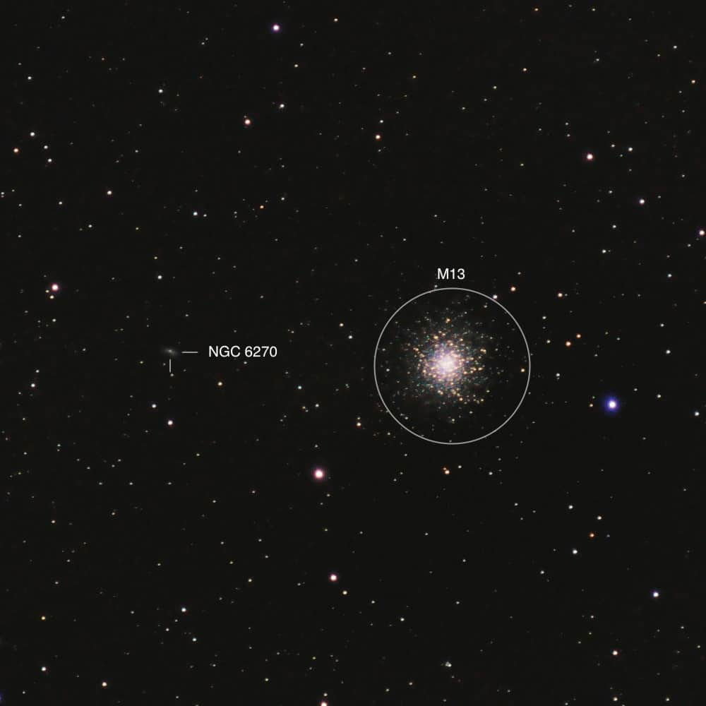 M13 Cluster and the NGC 6270 galaxy in Hercules