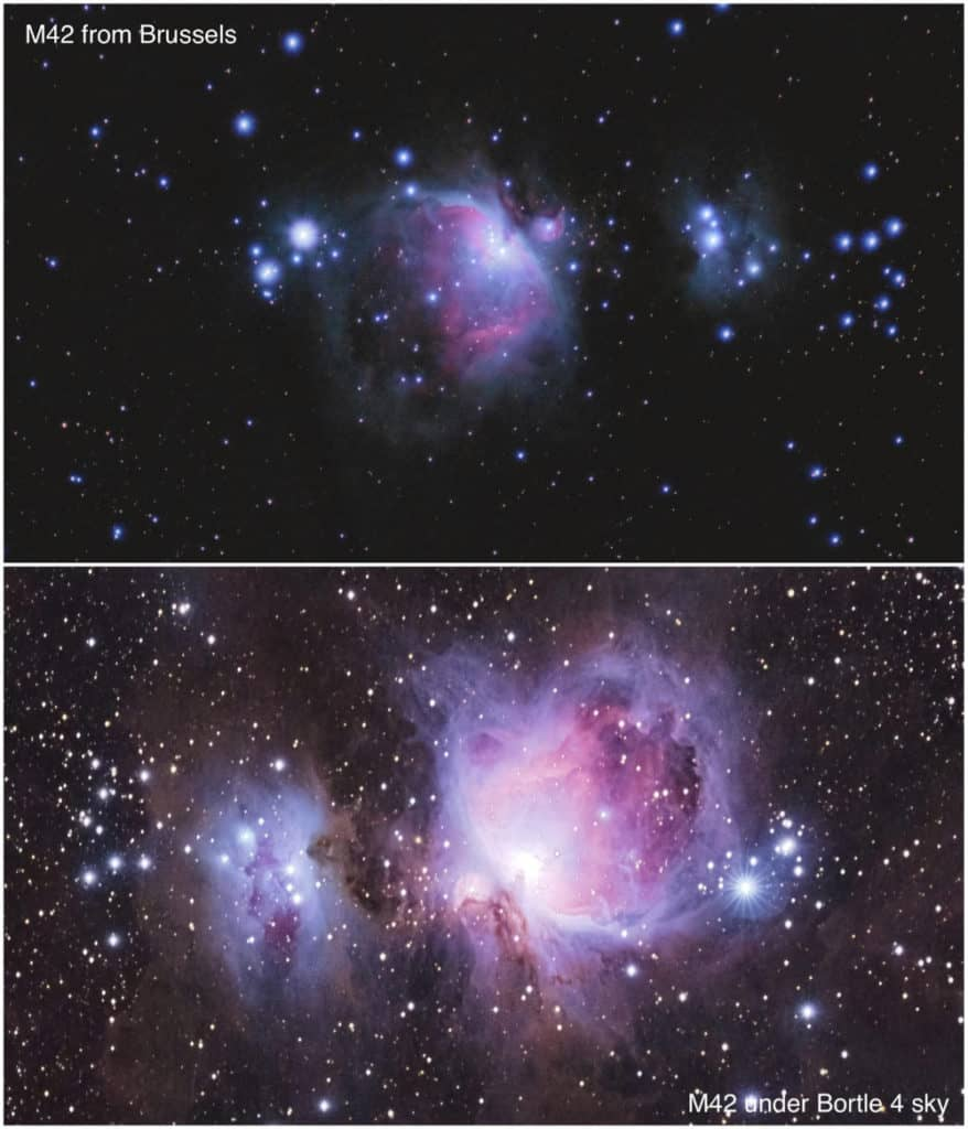 M42 comparison from city and bortle 4 sky