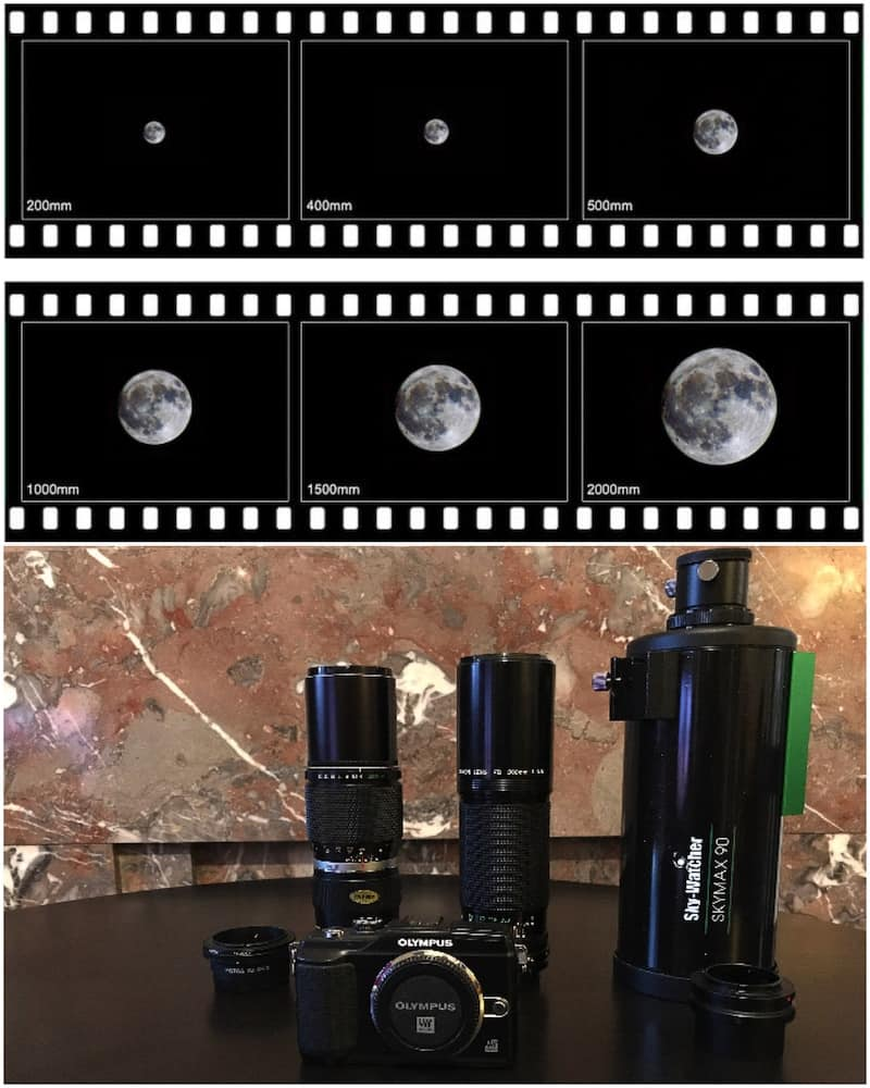 Moon at different focal lengths