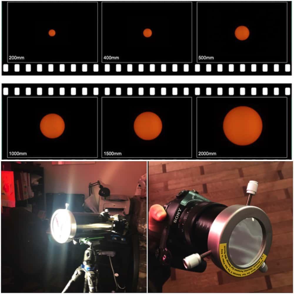 Sun at different focal lengths